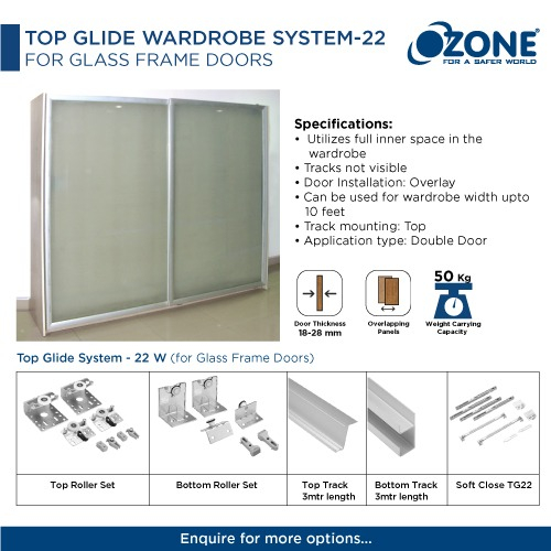 Top Glide Wardrobe System -22 For Glass Frame Doors