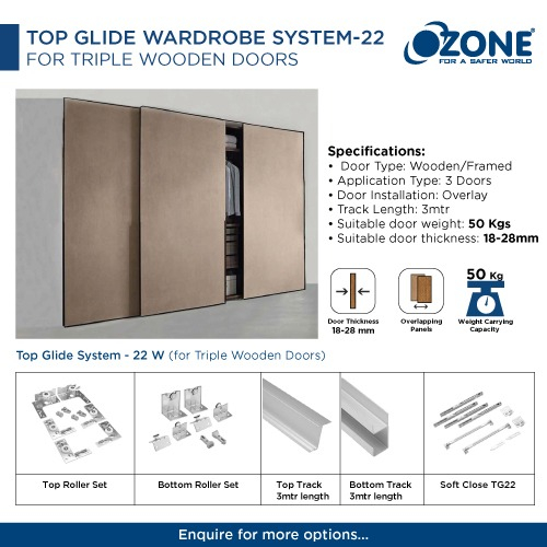 Top Glide Wardrobe System-22 For Triple Wooden Doors